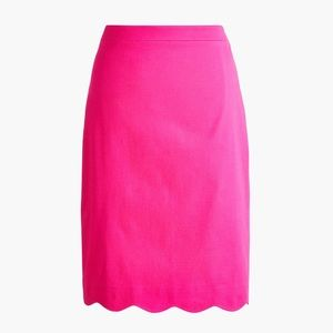 J.CREW Pink Scalloped Sateen Pencil Skirt